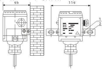 投入式液位变送器的墙壁安装图