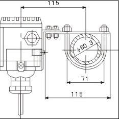 投入式液位变送器的水平管架安装图